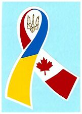 Ukrainian Car Bumper Sticker Ribbon Ukraine-Canada Flag Tryzub Trident