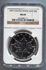 2007 1 oz .999 Silver Canadian Maple Leaf Bullion Certified Coin NGC MS 69