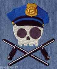 POLICE SKULL RARE NEW DESIGN  EMBROIDERED HAND TOWELS SET OF 2 by laura