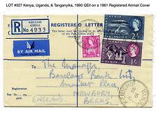 027: Kenya, Uganda, & Tanganyika, 1960 QEII on a 1961 Registered Airmail Cover