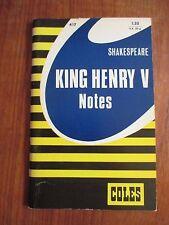 "Coles Notes on Shakespeare's ""King Henry V"""