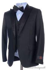 NWT - BATTISTONI Black Peak Lapel Wool Jacket Vest Pants TUXEDO Suit 32 34 R