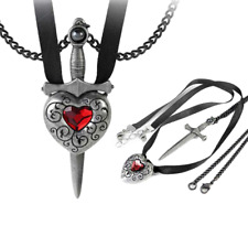ALCHEMY LOVE IS KING COUPLES 2 IN 1 SWORD HEART NECKLACE PENDANT + FREE GIFT BOX