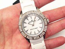 NWT Anne Klein $150 Swarovski Crystal White Ceramic MOP Ladies Watch 9683MPWT FS