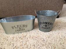 "New Garden Flower Planter Set of 2 Metal ""flowers & Garden"""