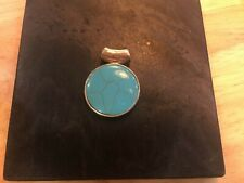 Silver mount Turquoise stone, Pendant, modern/asian styling, pre-owned