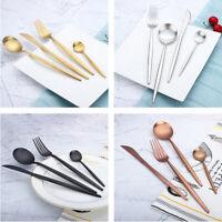 4PCS Stainless Steel Flatware Tableware Set Knife Fork Spoon Ice Cream Cutlery
