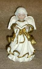Angel figurine with book, detailed resin, cream & gold colored, realistic face