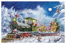 """Adventskalender Karte """"Eisenbahnfahrt"""" nostalgisch Weihnachtsmann Kuvert Glitzer"""