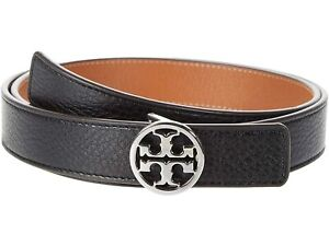 """Tory Burch NWT 1"""" REVERSIBLE LOGO BELT Black/New Cuoio Small Silver 56643"""