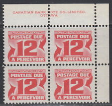 Canada #J36i 12¢ CENTENNIAL POSTAGE DUE 3RD ISSUE UR PLATE BLOCK MNH
