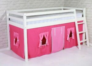 Girls Cabin Bed Pink Mid Sleeper Loft Bunk New 3ft Single Kids White Wood Ladder