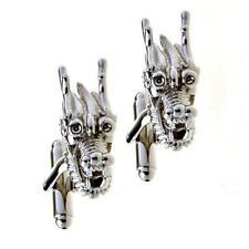 DRAGON HEAD CUFFLINKS Silver Metal NEW w GIFT BAG Feng Shui Auspicious Chinese