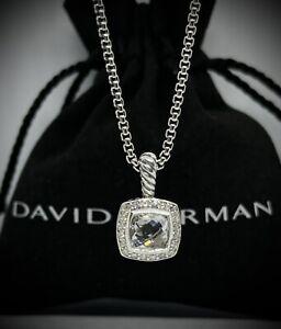 "David Yurman Petite Albion Pendant Necklace with White Topaz and Diamonds 17-18"""