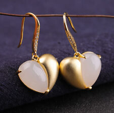 I03 Earring Romantic Silver 925 Gold Plated Heart White Jade