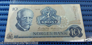 1976 Norway 10 Kroner Used Banknote Currency