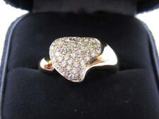 Tiffany & Co x Elsa Peretti Wmn's US 7 18kyg Pave Heart Ring Gold *PREOWNED*