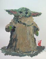 "ORIGINAL Abstract Grogu Baby Yoda Palette Knife Painting Star Wars Wall Art 14"""