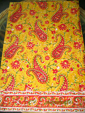 POTTERY BARN RED YELLOW PAISLEY FLORAL TABLE RUNNER 16x90''INC.100%COTTON