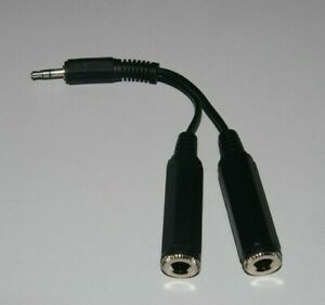 Stereo 3.5mm Jack Plug to 2 x Stereo 6.35 Jack Sockets Headphone Splitter 0.15m