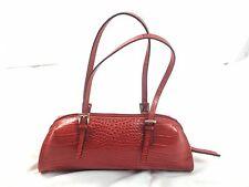 BISOU BISOU Michelle Bohbot Red Faux Leather Croc Satchel Handbag - EUC
