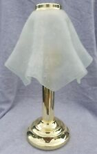 Party Lite Brass Finish Tealight Lamp with White Hankerchiefed Frosted Shade