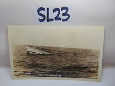 VINTAGE 1920'S US NAVY PICTURE POSTCARD SUBMARINE SUB V-2 COMING UP SURFACING