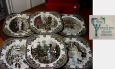Johnson Bros Friendly Village CHRISTMAS, 6 Square Salad Plates, NEW in BOX !!