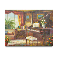 NY Art- Grand Piano Room 12x16 Original Oil Painting on Canvas - Sale!