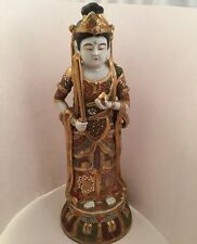 "Japanese 13"" Kutani porcelain Big Kannon statue Hand Painted Sword Made in Japan"