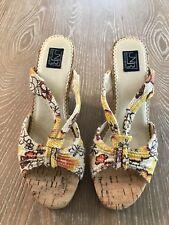 13e87d2e450e Not Rated NR Womans Cork Wedge Sandals Floral Sequin Size 8
