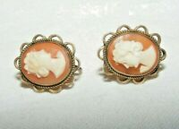 ANTIQUE / VINTAGE GOLD ON SILVER ETRUSCAN REVIVAL CAMEO EARRINGS SCREW BACK