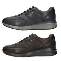 GEOX DENNIE U740GA NAVY BLACK scarpe uomo sneakers pelle interactive casual nero