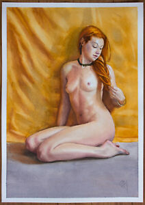 Original Female watercolour on paper figure painting nude Girl woman watercolor