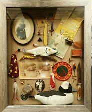 primitive antiques cabin decor shadowbox Hunting Fishing cabin