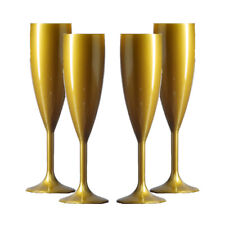 Plastic Polycarbonate Champagne Flutes - Gold- Made in UK