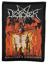 DESASTER Woven Patch HELLFIRE´S DOMINION Aufnäher black border  Teutonic Metal