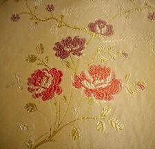 Vintage French Floral Roses Brocade Jacquard Fabric ~ Melon Lavender Blue Gold