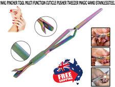 STAINLESSTEEL Nail Pincher Tool Multi Function Cuticle Pusher Tweezer Magic Wand