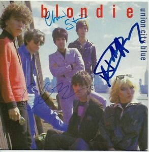 "Debbie Harry Clem Burke & Chris Stein Hand Signed 7"" Blondie Union City Blue 7"""