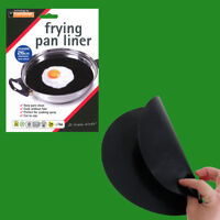 12x 26cm Reusable Non-Stick Black Frying Pan Liner for Healthy Cooking
