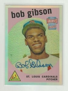 2001 Topps ARCHIVES RESERVE Bob Gibson RC REPRINT ON CARD AUTO Cardinals HOF