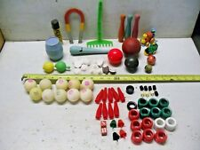Old Vintage Junk Drawer LOT Toys Wooden Plastic Marx Playskool Balls Parts