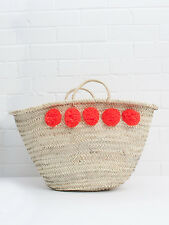 Large Orange Pom Pom French Market Beach Basket, Tote Shopper Bag Moroccan