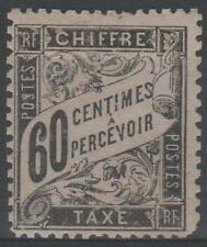 "FRANCE STAMP TIMBRE TAXE N° 21 "" TYPE DUVAL 60c NOIR "" NEUF xx A VOIR  N585"