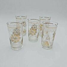Vintage Mid-Century Tumblers- Gold Star Swirls-Dominion Glass-Set of 5