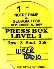 9/6/97 NOTRE DAME/GEORGIA TECH (GA TECH) FOOTBALL PRESS PASS