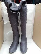 NO DOUBT GREY SUEDE OVER KNEE HIGH HEEL BOOTS SIZE:UK 8 - RRP £45.99