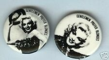 2  MARILYN MONROE pin GENTLEMEN PREFER BLONDES pinback button Pinup Pose