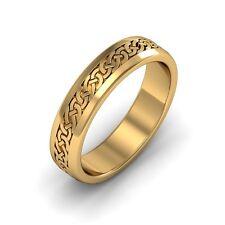 14k Gold Irish Handcrafted Celtic Design Anniversary Wedding Band Ring 4mm